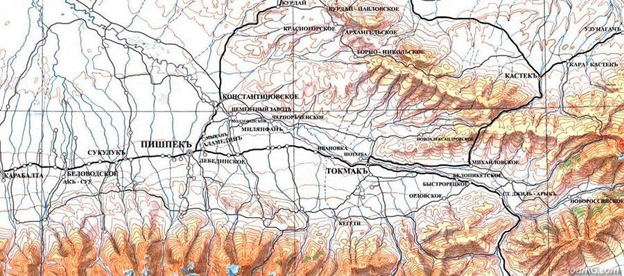 карта Пишпека и Чуйской долины