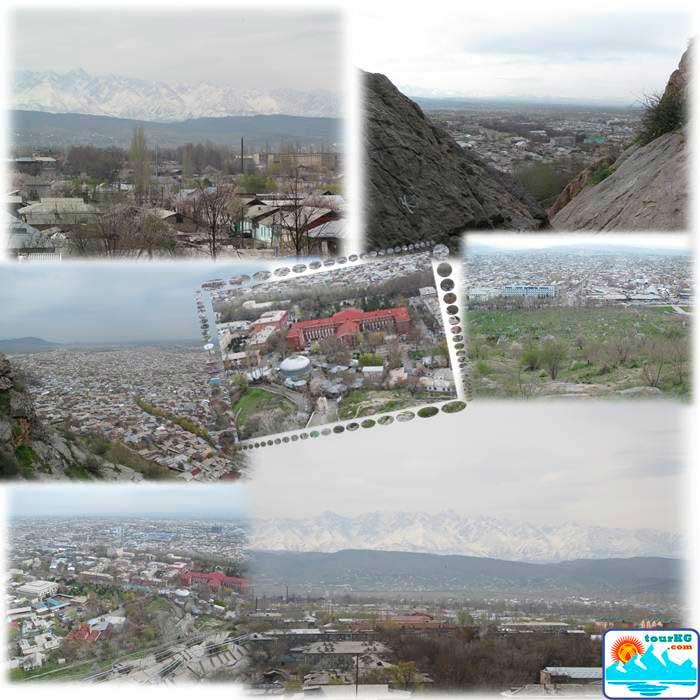 Вид города Ош на фоне белоснежных гор